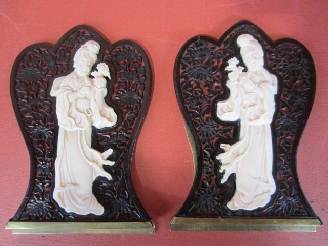 512: A9-12 PAIR OF CHINESE IVORY OVER CINNABAR BOOKENDS