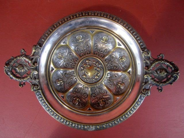 513: A9-13  ANTIQUES SILVER OVER BRASS CENTER BOWL