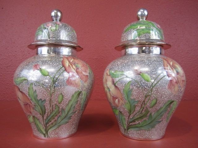 514: A9-14  PAIR OF ROSENTHAL GERMANY COVERED URNS