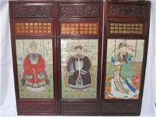 952 F671  LOT OF 3 CHINESE HANDPAINTED SILK  PANELS