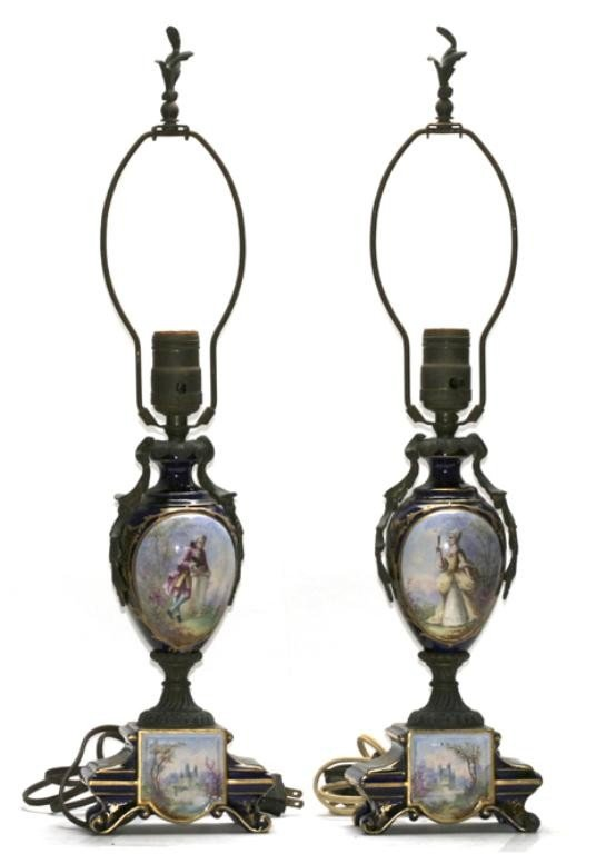 510C: F60-143  PAIR OF SEVRES PORCELAIN TABLE LAMPS