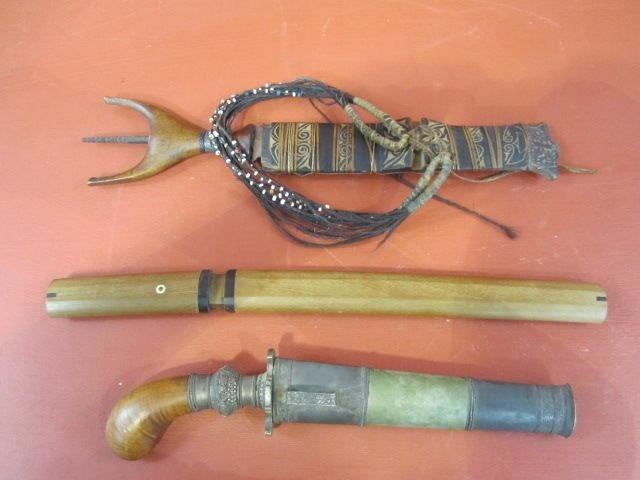 147: A3-8  TWO ANTIQUE DAGGERS & 1 JAPANESE KNIFE