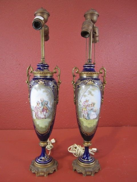 27: A12-7  PAIR OF SEVRES PORCELAIN LAMPS
