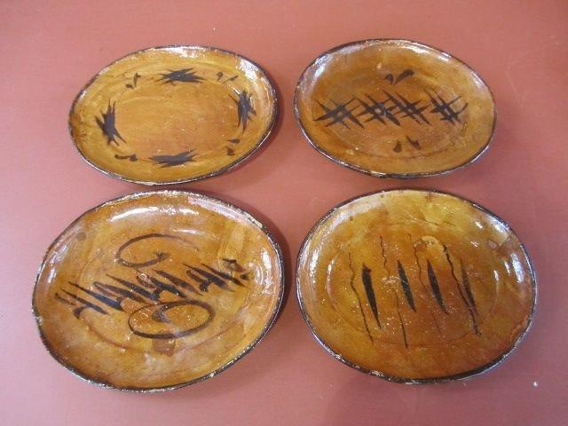 207: G43-1 LOT OF 4 SAN ILDEFONSO PUEBLO POTTERY PLATES