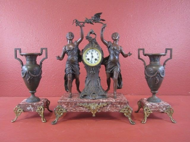 211: A68-1  FRENCH BRONZE & MARBLE 3 PC CLOCK