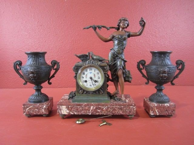 212: A68-2  SIGNED FRENCH BRONZE & MARBLE 3 PC CLOCK