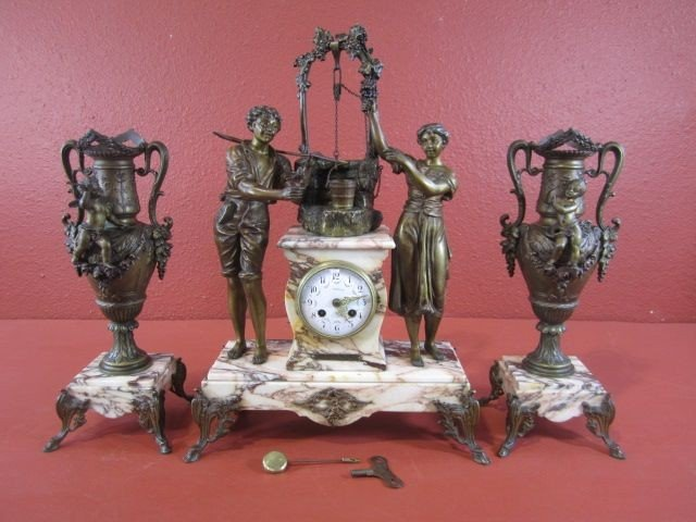 213: A68-3  FRENCH BRONZE & MARBLE 3 PC CLOCK