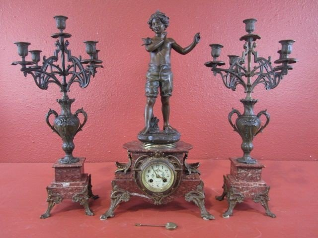 215: A68-5  SIGNED FRENCH BRONZE & MARBLE 3 PC CLOCK