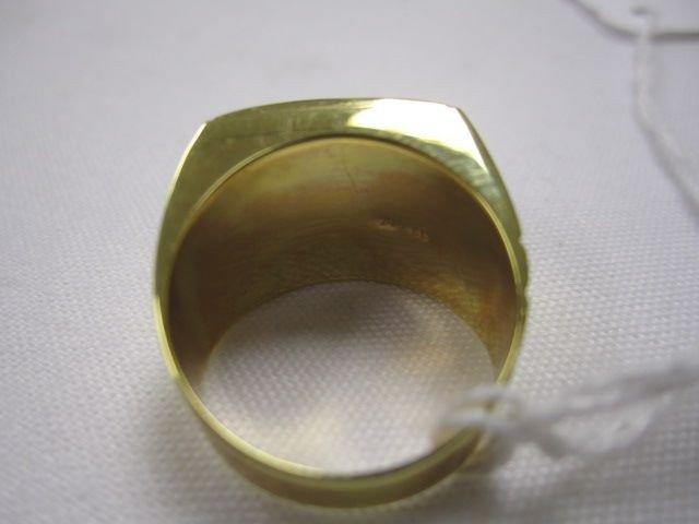 45: A27-17  MENS 14K GOLD & JADE RING - 2