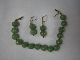 G60-1  JADE BRACELET & EARRINGS