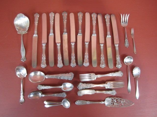 84: E2-9  LOT OF 60 PC ASSORTED STERLING FLATWARE