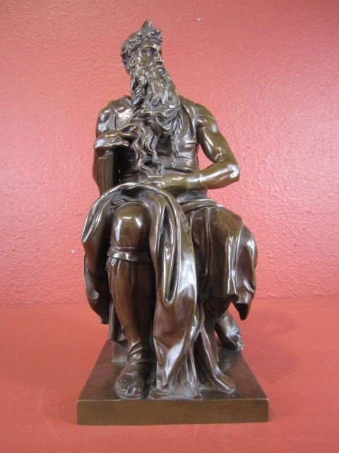 26: A55-1  FRENCH BRONZE MOSES FIGURE