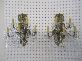 A55-5  PAIR OF GILT BRONZE WALL SCONCES