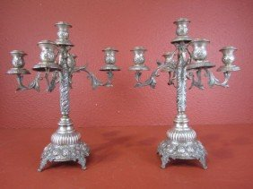 A55-8  PAIR OF SILVER CANDELABRAS