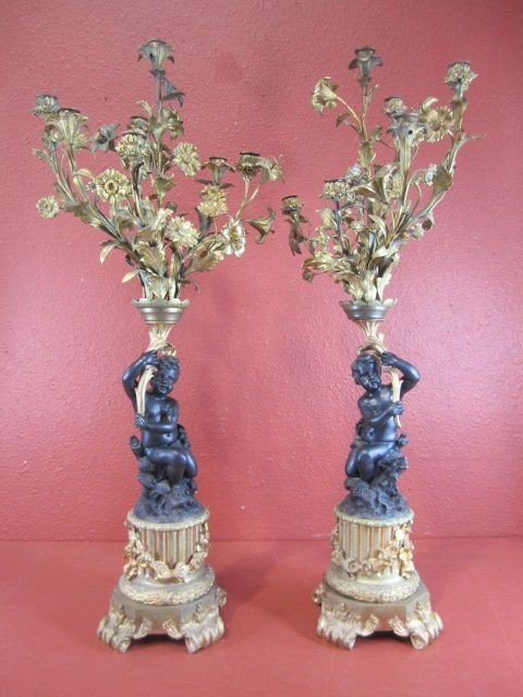 37: A55-12  PAIR OF FRENCH GILT BRONZE CANDELABRAS