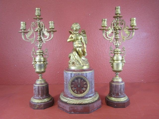 38: A55-13  FRENCH FIGURAL 3PC CLOCK SET