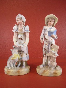 A55-23  PAIR OF CONTINENTAL BISQUE FIGURES