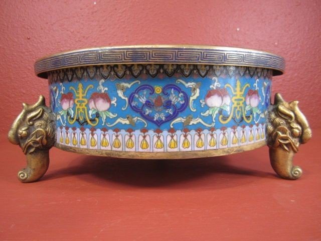 157: E5-7  THREE FOOTED CLOISONNE BOWL