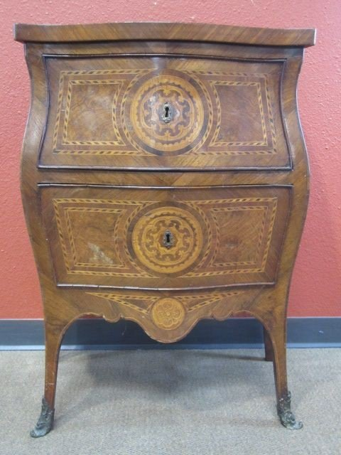 173: E8-1  MARQUETRY TWO DRAWER CHEST
