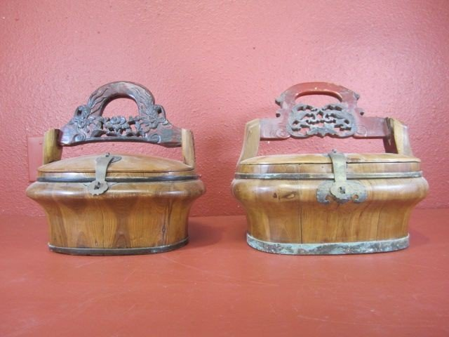 86: E10-1  PAIR OF CHINESE WOOD LUNCH PAILS