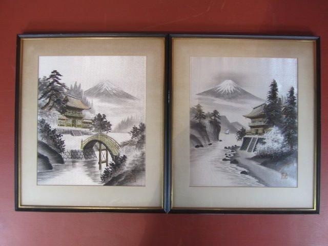 70: F25-1  PAIR OF JAPANESE WOVEN SILK THREAD ART