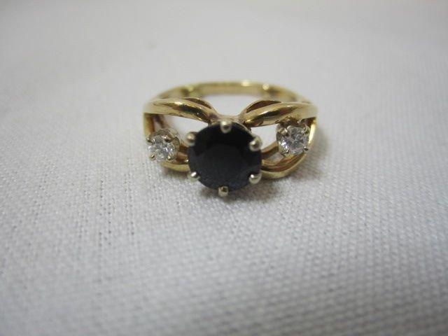 95A: A27-6  DIAMOND & SAPPHIRE 14K GOLD RING