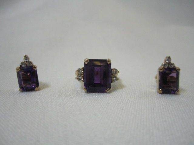 95D: A27-9  AMETHYST & DIAMOND RING & EARRINGS SET