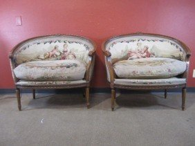 A11-41  PAIR OF FRENCH OBUSON PARLOR CHAIRS