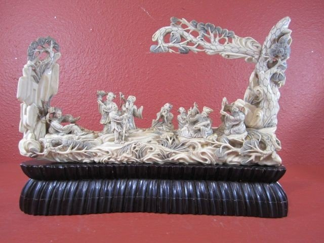 243: A11-33  IVORY CARVING WITH 8 GODS