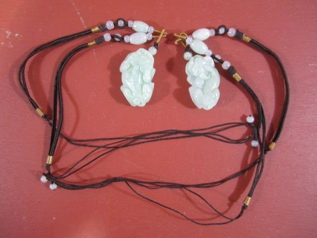 67: A11-100  PAIR OF CHINESE JADE PENDANTS