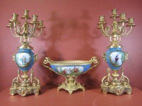 A11-58  SEVRES CENTER BOWL & CANDELABRAS