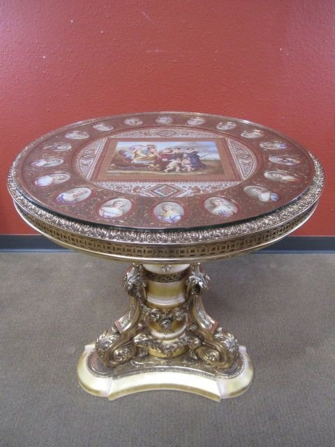 178: A11-64  BRONZE ORMOLU TABLE WITH PORCELAIN PLAQUES