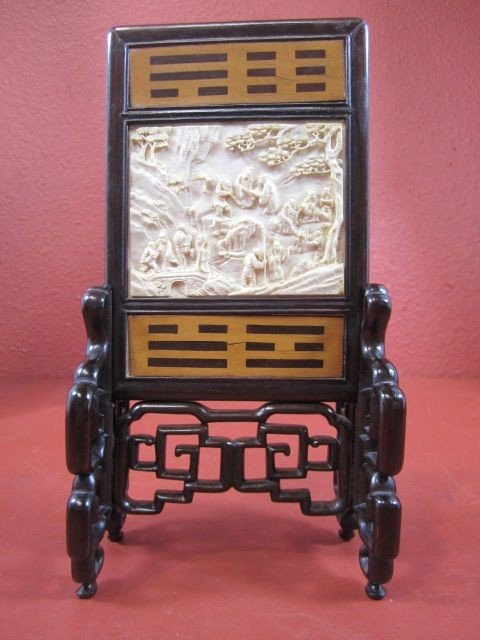 60C: E22-13  CHINESE IVORY & WOOD TABLE SCREEN