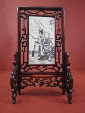 E22-14  CHINESE IVORY & WOOD TABLE SCREEN