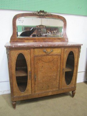 16: A3-1  ANTIQUE MARBLE TOP SERVER WITH MIRROR