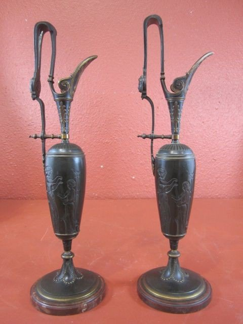 31: A9-6  PAIR OF FRENCH BRONZE EWERS