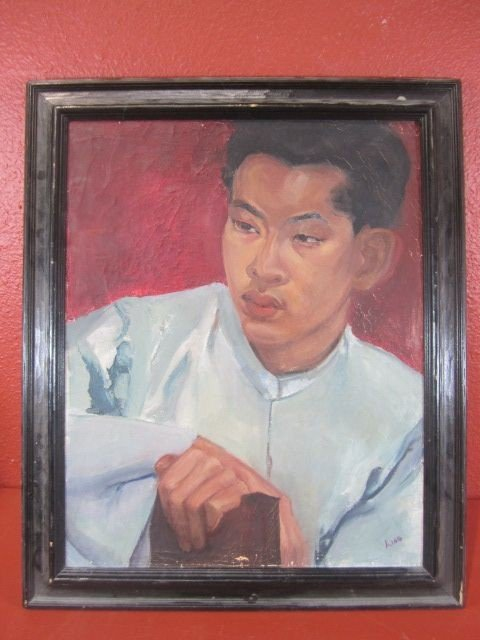 "58: A45-22  SIGNED ""LING"" OIL ON BOARD"
