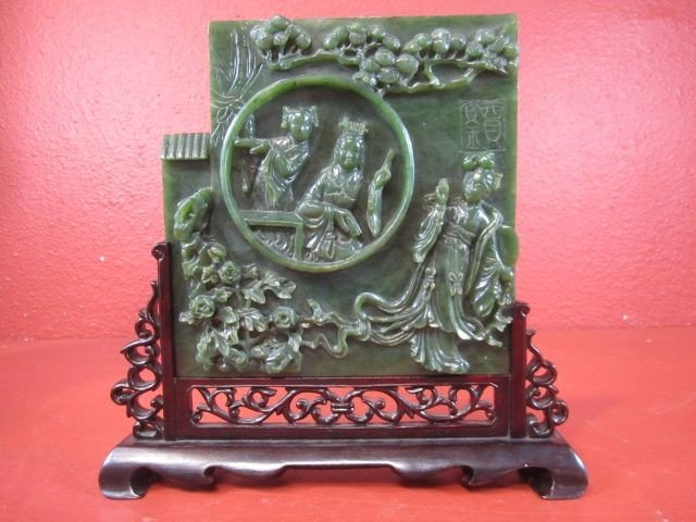 61: A11-6  OLD CHINESE SPINACH JADE CARVING