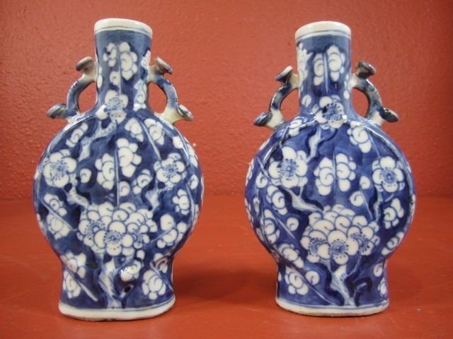 67: A11-22  SIGNED PAIR OF PORCELAIN VASES