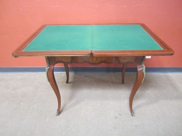 111: A11-110  MARQUETRY & BRONZE ORMOLU GAME TABLE