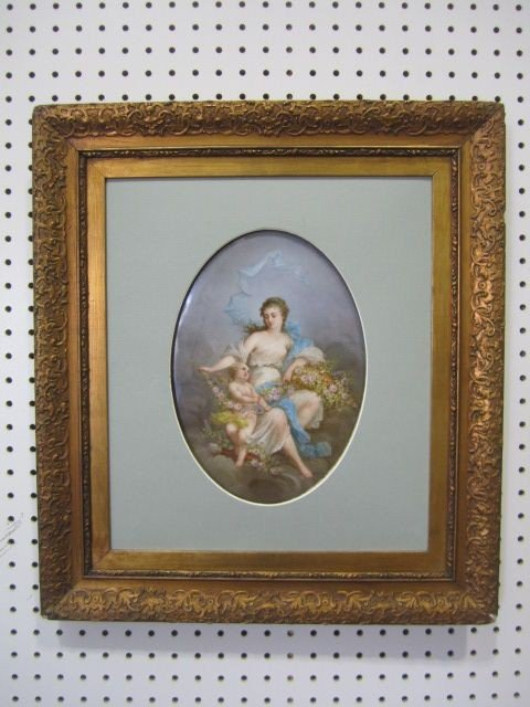 113: A11-112  SEVRES STYLE HAND PAINTED PLAQUE