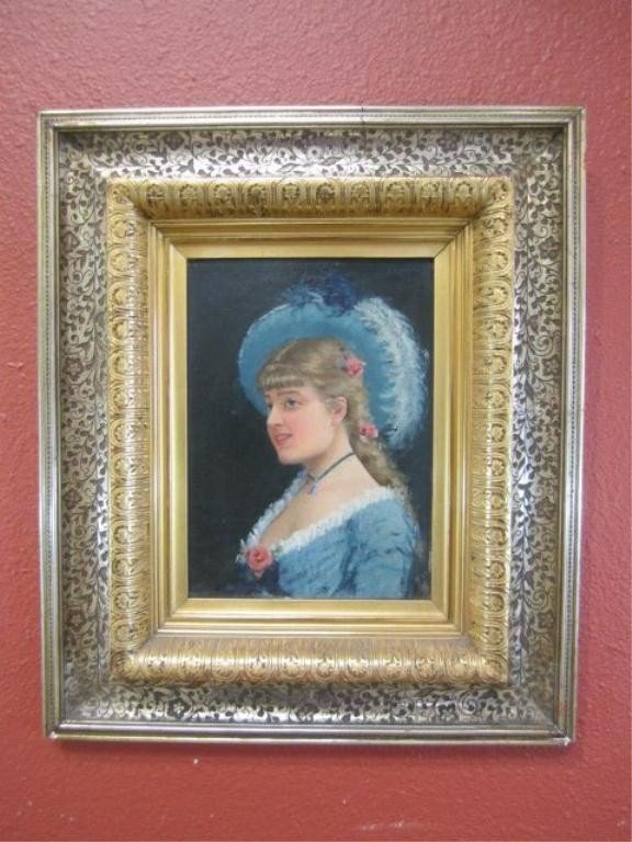 119: A11-118  OIL PAINTING WITH SILVER & GOLD FRAME