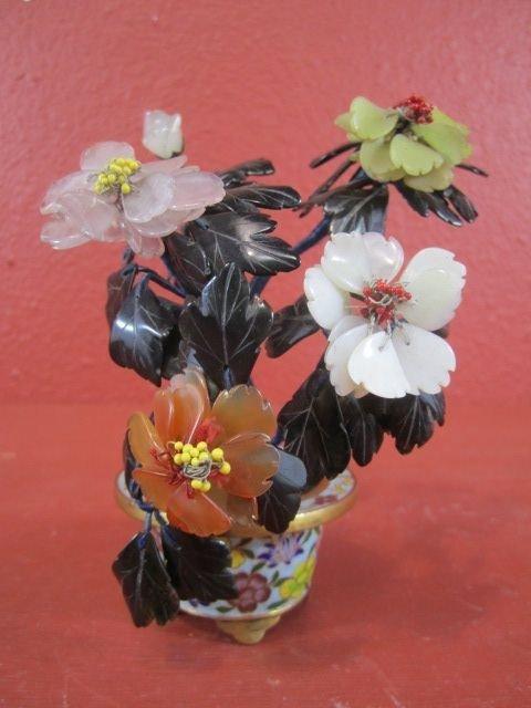 211: E22-17  CHINESE CLOISONNE, JADE & JADEITE FLOWERS