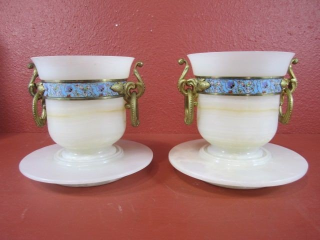 212: E22-18  PAIR OF CHAMPLEVE & ALABASTER FLOWER POTS