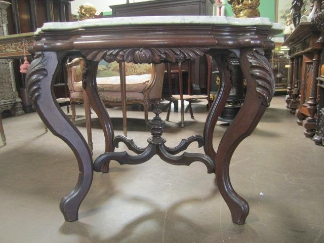 113A: A19-1  1890'S CARVED WOOD & MARBLE TOP TABLE