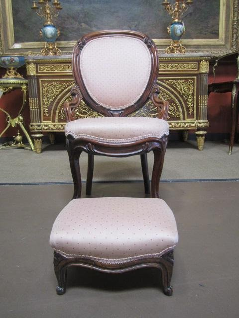 113C: A19-3  A SET OF VICTORIAN CHAIR WITH STOOL