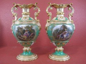 E22-5  PAIR OF OLD PARIS PORCELAIN VASES