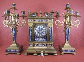 E22-20  SEVRES & ORMOLU 3 PIECE CLOCK SET
