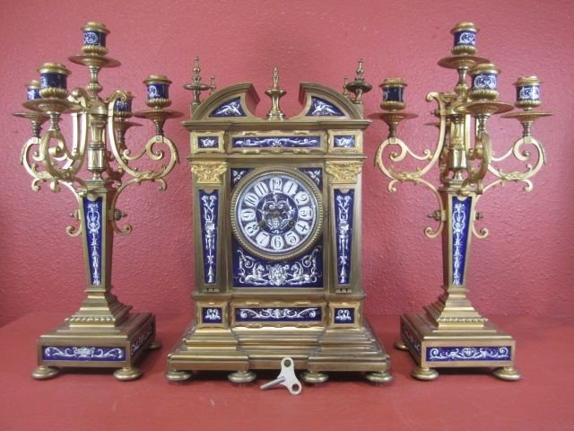 600: E22-20  SEVRES & ORMOLU 3 PIECE CLOCK SET