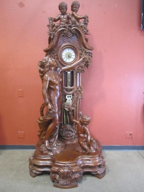 603: A11-193  HAND CARVED WOOD CLOCK
